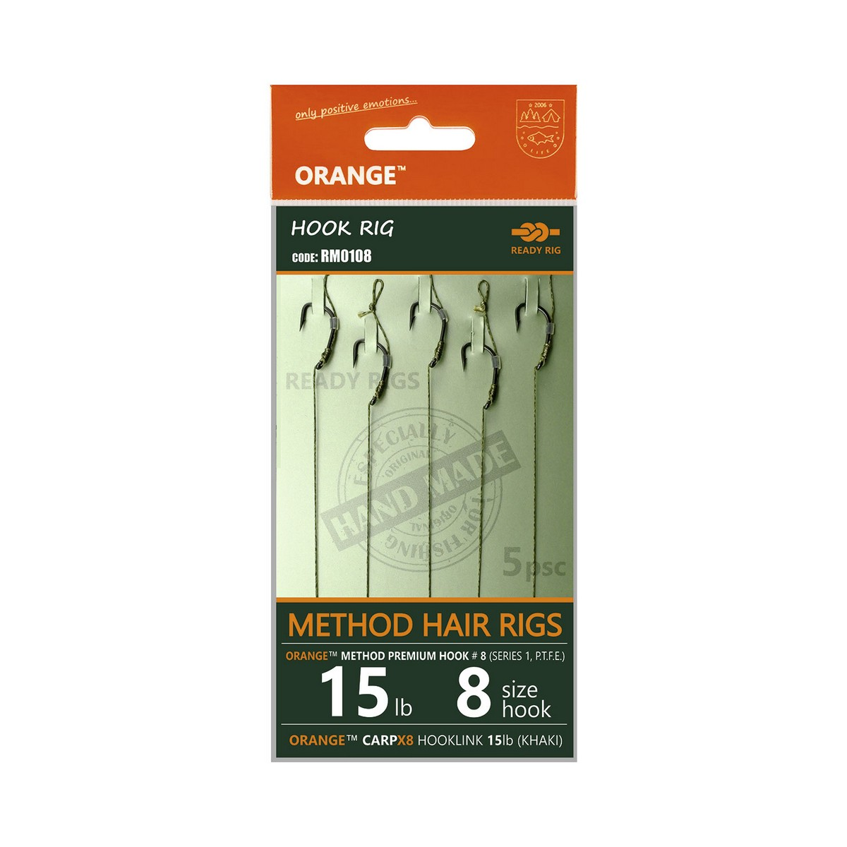 LIFE-ORANGE METHOD HAIR RIGS, (15LB, HOOK #8, SERIES 1), 5DB