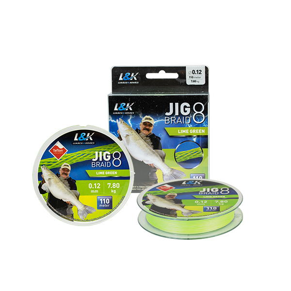 L&K JIG BRAID 8 TEFLON, LIME GREEN, 110M