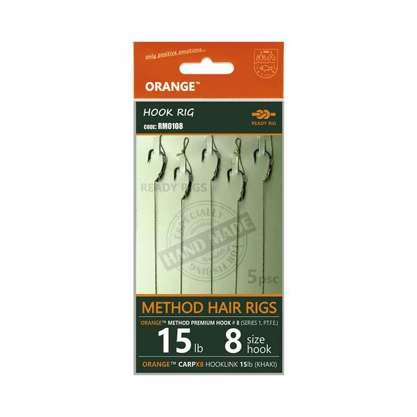 LIFE-ORANGE METHOD HAIR RIGS, (15LB, HOOK #12, SERIES 1), 5DB