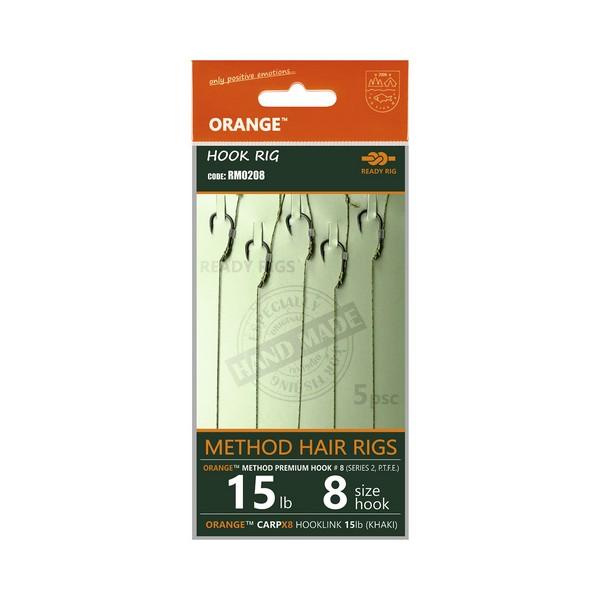 LIFE-ORANGE METHOD HAIR RIGS, (15LB, HOOK #12, SERIES 2), 5DB