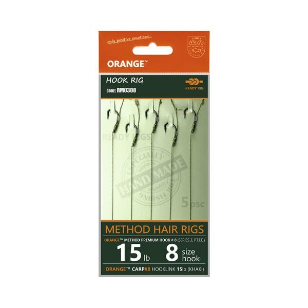 LIFE-ORANGE METHOD HAIR RIGS, (15LB, HOOK #10, SERIES 3), 5DB